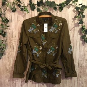 NEW Ann Taylor Floral Embroidered Cargo Jacket